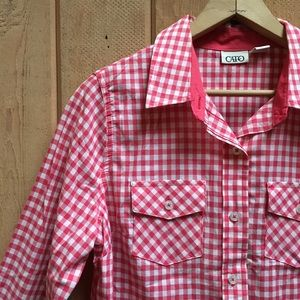 Red Gingham Button Down Shirt